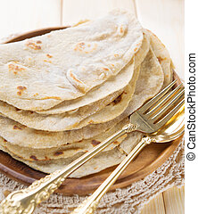 India vegetarian food plain chapatti roti or Flat bread....