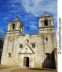 Old Spanish Mission in Texas - The front of the historic...