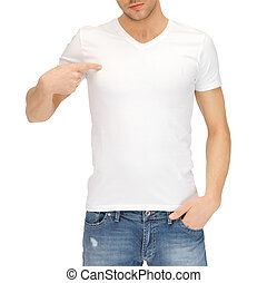 man in blank white t-shirt - t-shirt design concept - man in...