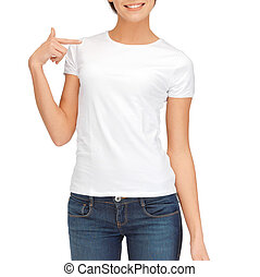 woman in blank white t-shirt - t-shirt design concept -...