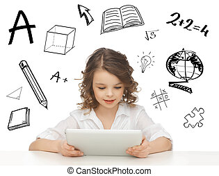 student girl playing with tablet pc - education, technology...