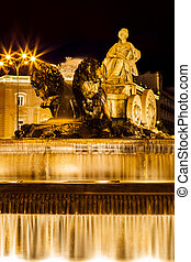 Cibeles Fountain at Night, Madrid, Spain