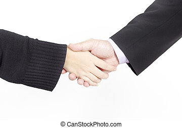 Businessman and female shaking hands, isolated on white. Closeup
