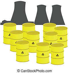 Nuclear waste - Illustration of barrels with nuclear waste...
