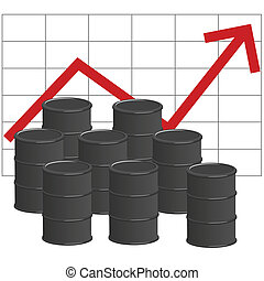 Oil prices - Illustration of several barrels of oil in front...