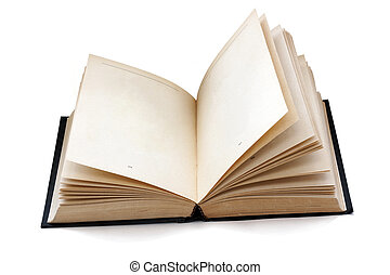 old fashioned open book with empty pages isolated with...