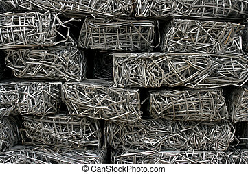 Tied fences - Bales of compressed aluminum fences