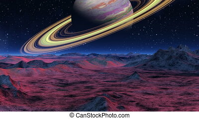 Saturn over the horizon - Saturn hangs over the horizon of a...