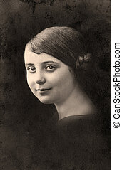 Vintage portrait. - Vintage portrait of a young girl. The...