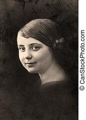 Vintage portrait. - Vintage portrait of a young girl. The...