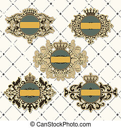 Set of vintage frame with crown - The vector image Set of...