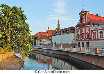 Wroclaw Odra river embankment - Wroclaw, Polish Republic...