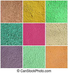 textured colorful stucco set, images taken in Burano village...