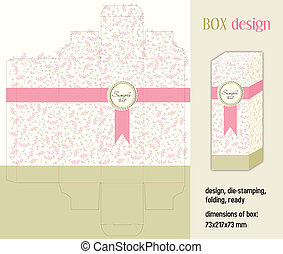 Box design romantic, die-stamping, folding, ready,...