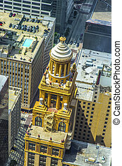 aerial of modern and historic buildings in downtown Houston...