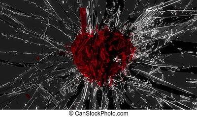 Shattered glass: red broken heart