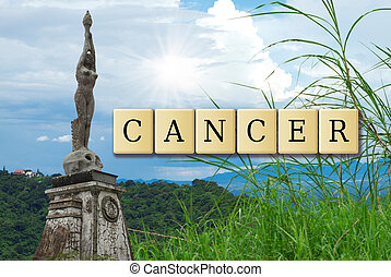 Cancer formed with jigsaw crossword puzzle illustration.