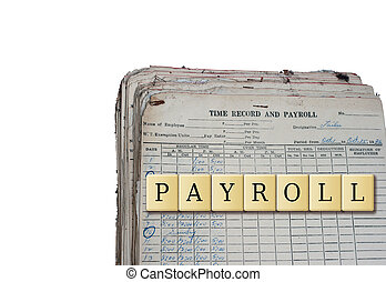Payroll in a crossword puzzle with old payroll ledger...