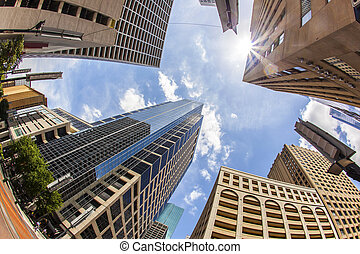 view to modern skyscraper in downtown Houston - view to...