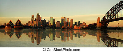 sydney landmarks panorama, evening photo, artificial...