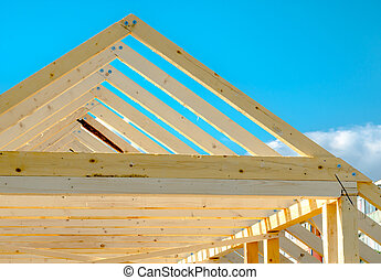 Detail of roof frame under construction - Rafters of the...