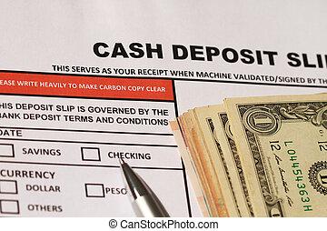 cash deposit slip - Personal banking deposit slip with bank...
