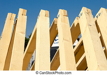 Stack of Building Lumber at Construction Site,ready for...