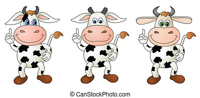 Cow 5 bare - composite - Illustration of a cute little cow-...