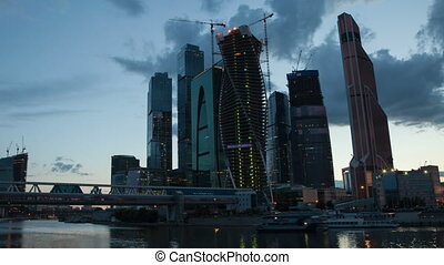 Moscow Skyscrapers sunset hyperlapse - Skyscrapers in...
