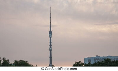 Ostankino Tower timelapse - Ostankino TV Tower in Moscow,...