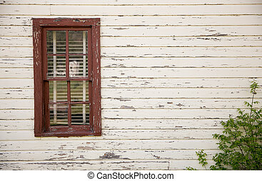 Eight Pane Window Painted Red With White Weathered Wall and...