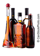 Bottles of alcohol - Different bottles of alcohol isolated...