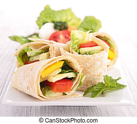 tortilla wrap with vegetable