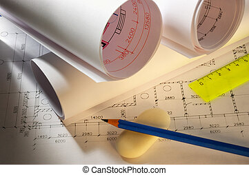 pencils and plans engineering drawing on drawing desk with...