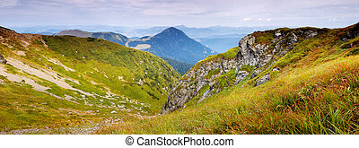 Ridges - Landscape view from mountain ranges. Carpathians,...