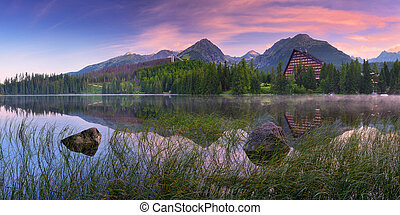 Colorful sunrise over the lake - Mountain panorama with...
