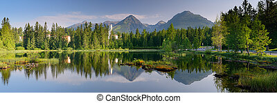 Lake Panorama - Panorama of mountain lake. Slovakia, the...