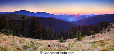 Mountain panorama at sunrise - Sunrise in the mountains....