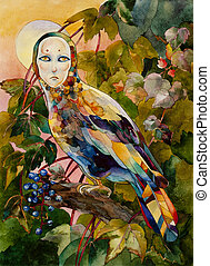 Mythical bird with female face on sunset forest watercolor...