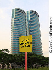 Game changer ahead - Road sign indicating a game changer...