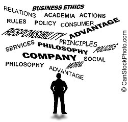 business ethics and other business related word isolated in...