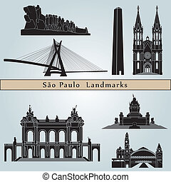 Sao Paulo landmarks and monuments isolated on blue...