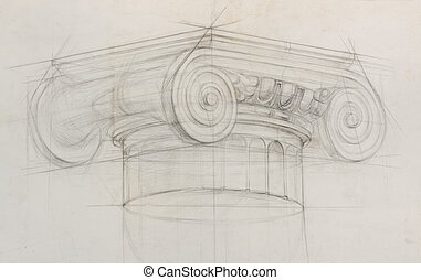 pencil sketch of ionic capital column