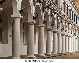 Cloister - Traditional cloister with hunt scalps in Dresden...