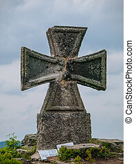 Maltese cross at Stepanka view tower Korenov, Czech Republic...