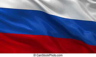 Seamless loop of Russian flag - Flag of Russia waving in the...