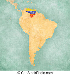 Map of South America - Venezuela Vintage Series - Venezuela...