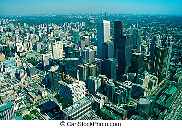 Toronto - aerial view of toronto, long distance visibility