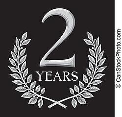golden laurel wreath 2 years (anniversary, jubilee)