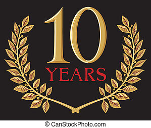 golden laurel wreath 10 years (jubilee, anniversary)
